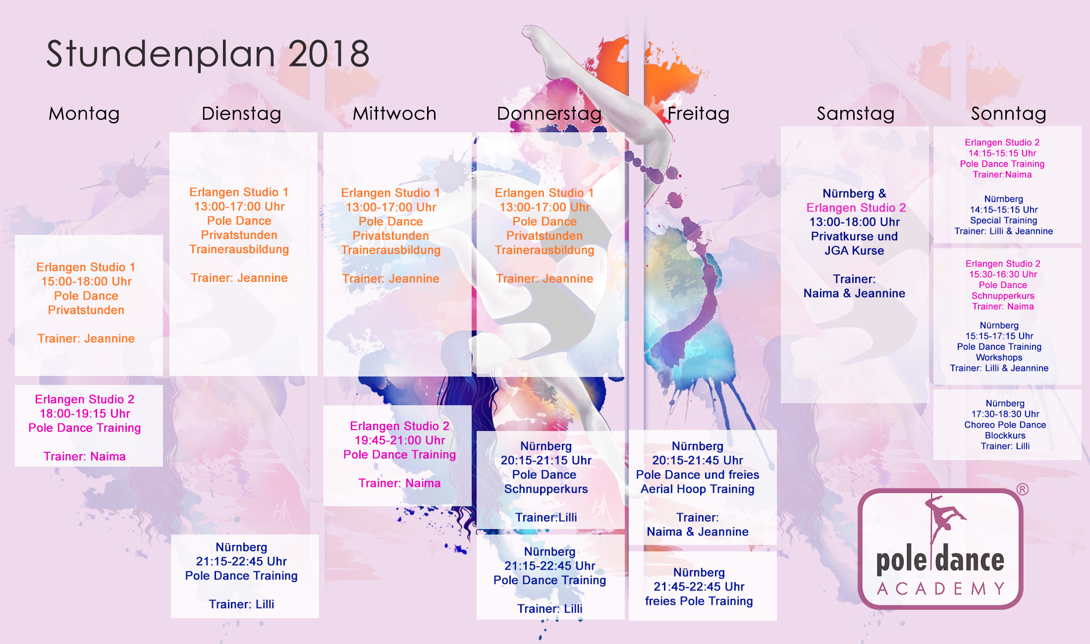 Stundenplan Pole Dance Academy 2018
